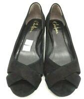 Cole Haan Air Black Leather Peep Toe Casual Low Wedge Heel Shoes Women's 7 B