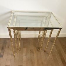 Vintage Mid Century Hollywood Regency Brass & Glass Bamboo Nesting Side Tables