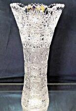 "Crystal Glass Vase 9.5"" Centerpiece Bud Vase  Flower Hand Cut  Bohemian Crystal"