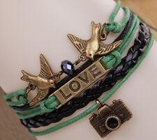 CAMERA LOVE OISEAUX en Cuir Vert Bracelet Bracelet Charme Bracelet Tresse A58