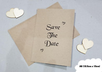 Personalised Save The Date Cards Wedding - With Envelope A6 Kraft - Invitations