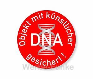 5 Aufkleber Objekt mit künstlicher DNA gesichert 75 mm,  Alarm Überwachung