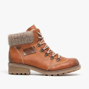 Rieker Z0444-24 Ladies Womens Warm Comfy Lined Lace Up Casual Ankle Boots Brown