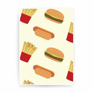 Hot dogs hamburgers fries pattern design funny print poster framed wall art deco