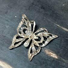Vintage Yellow Gold Plated Diamond Cut Butterfly Pendant