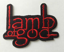 HEAVY METAL PUNK ROCK MUSIC SEW / IRON ON PATCH:- LAMB OF GOD (a) RED & BLACK