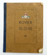Rover 60, 75, 90 Saloon Owners Instruction Manual, 4038, Rover No 4038, TP/167/A