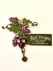 Byrd Designs Vintage Brass Pin Brooch Grapes Amethyst Crystals Purple Leaves New