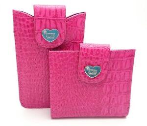 BN Storm Very Pretty Bright Pink Mock Croc Wallet & Phone Pocket Set - 2 Peices