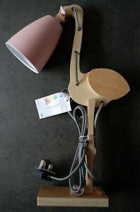 FLAMINGO PINK METAL & WOOD MODERN OFFICE TABLE DESK LAMP SWING BODY & FABRICCORD