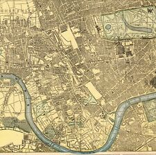 1894 Antique LONDON ENGLAND Street MAP Cram's City Map of London Wall Art 7745