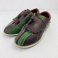 Cobra TCR-3V Brown/Green V-Strap Mens Bowling Rental Shoes Size Mens 5.5 Wm 7