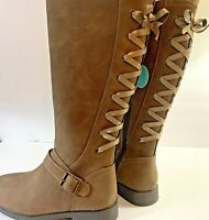 SO Girls Boots Cicely Size 2M Laced Riding Boots Taupe Zip Memory Foam New