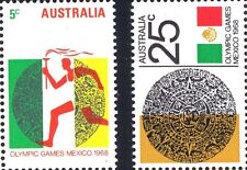 Australian 1968 MNH Set Pair 5c + 25c - Mexico Olympic Games variety issues