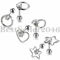 3 pairs Unique Stainless Steel CZ Hollow Womens Lady Cartilage Ear Stud Earrings