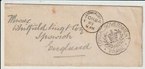 "TONGA - "" TONGA GOVERNMENT FRANK "" c.1910 COVER TO UK"