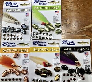 FISH SKULL BAITFISH HEADS. PICK SIZE/COLOR. EYES INCLUDED. FLY TYING STREAMERS.
