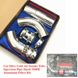 Car Cold Air Intake Extension Tube Injection Pipe 3inch 76MM Aluminum Filter Kit