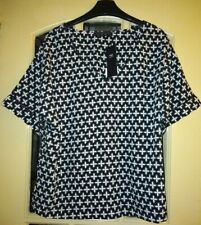 NAVY & WHITE FLORAL TOP FROM MARKS & SPENCER - SIZE 12 - BNWT