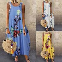 UK Women Summer Sleeveless Floral Printed Loose Kaftan Long Maxi Dress Plus Size
