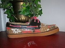 Sperry Bahama Cognac Sequins Boat Shoes Women's Shoes Size 7.5 new