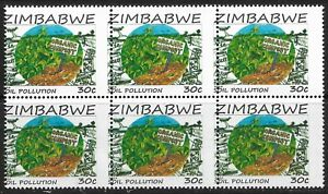 Zimbabwe 2016 Oil Pollution 30c Perforation Shifted Block of 6 Superb MNH