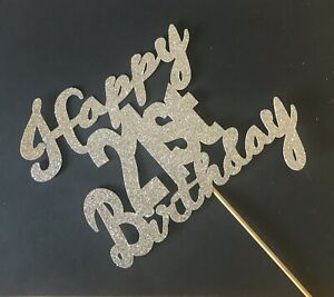 Happy 21st Cake topper, Birthday, Party, Glitter Silver Sparkle