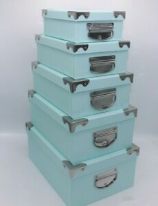 Set Of 10 Baby Blue Storage Boxes Different Sizes With Metal Handles Compact