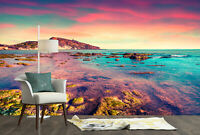 3D Colorful Spring Sunset Beach Self-adhesive Living Room Wallpaper Wall Murals