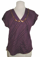 Ladies burgundy top with gold metallic thread & copper sequins UK 8 BNWT