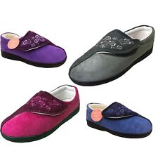 LADIES MEMORY FOAM ORTHOPEDIC STRAP SLIPPERS SHOES,LILAC OR NAVY SIZE 3-8 JULIE