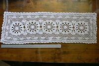 HandCROCHET CENTRE Cotton CREAM Rectangle 5x14cm Motives Approx 26x85cmLF419/422