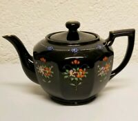 Vintage Black/Brown Glazed Teapot With Hand Painted Floral Design, Made In Japan