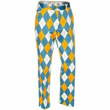 Golf Trousers By Royal And Awesome Diamond Dude Blue Yellow Argyle Pants 30 - 44