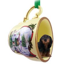 Dachshund Christmas Ornament Teacup Longhair Black