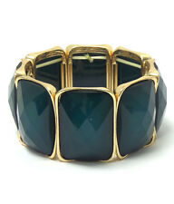 Faceted DK Forest Green Acrylic Link Yellow Gold Plated Fashion Stretch Bracelet