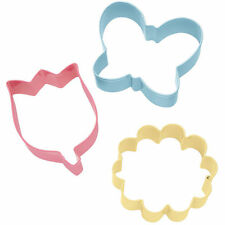 Wilton Colored Metal Cutter Set Pastel Butterfly Daisy Tulip Spring Coated Metal