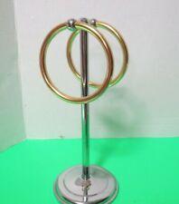 "Bath Counter Chrome Metal 2 Ring Pedestal Towel Ring Holder 12"" Tall"