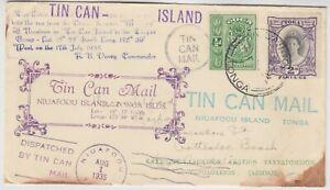 TONGA 1935 the original TIN CAN MAIL *NIUAFOOU-COTTESLOE BEACH AUSTRALIA*