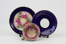 AYNSLEY CHINA CUP SAUCER AND PLATE TRIO CABBAGE ROSE & COBALT BLUE WITH GILDING