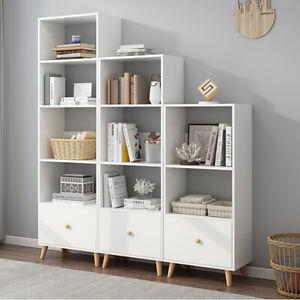 White Cube Wooden Bookcase Shelving Unit Door Display Storage Bookshelf Cabinet