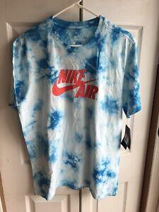 NWT Men's Nike Air Blue/White Tie-Dye The Nike Tee BQ0079-101 RARE Size Large L