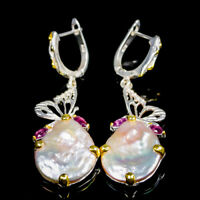 Handmade Natural Baroque Pearl 925 Sterling Silver Earrings /E36091