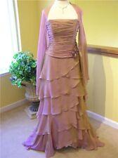 NEW $785 Rina Di Montella SILK tiered evening MOB occasion formal train dress 10