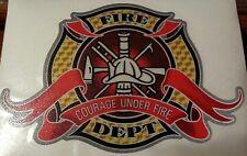 "Firefighter Decal, Fire Dept, Courage Under Fire, 3M Reflective, 5.5""w  #FD48"