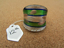 Ring. Size Q/R. Us 8.25 (12@) A Silver/Gold/Green & Purple Murano Style Glass