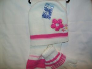 Toboggan, Gloves and  Scarf, White with Pink Flower  Polyester/Cotton