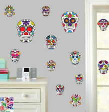 Decorative Skulls - Pack of 14 - Wall Art Vinyl Stickers - Colourful Decals