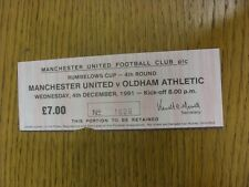 04/12/1991 Ticket: Manchester United v Oldham Athletic [Football League Cup] (ve
