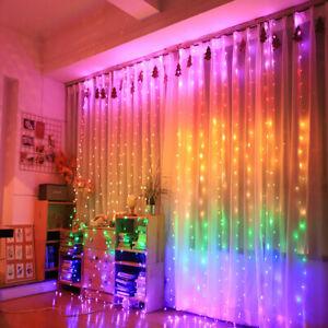 Rainbow 300 LED Curtain Fairy Lights String Backdrop Wedding Xmas Party Decor 3M